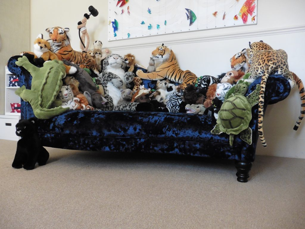 Bespoke design & build upholstered sofa with sewn in soft toys Hill Upholstery & Design Essex and London