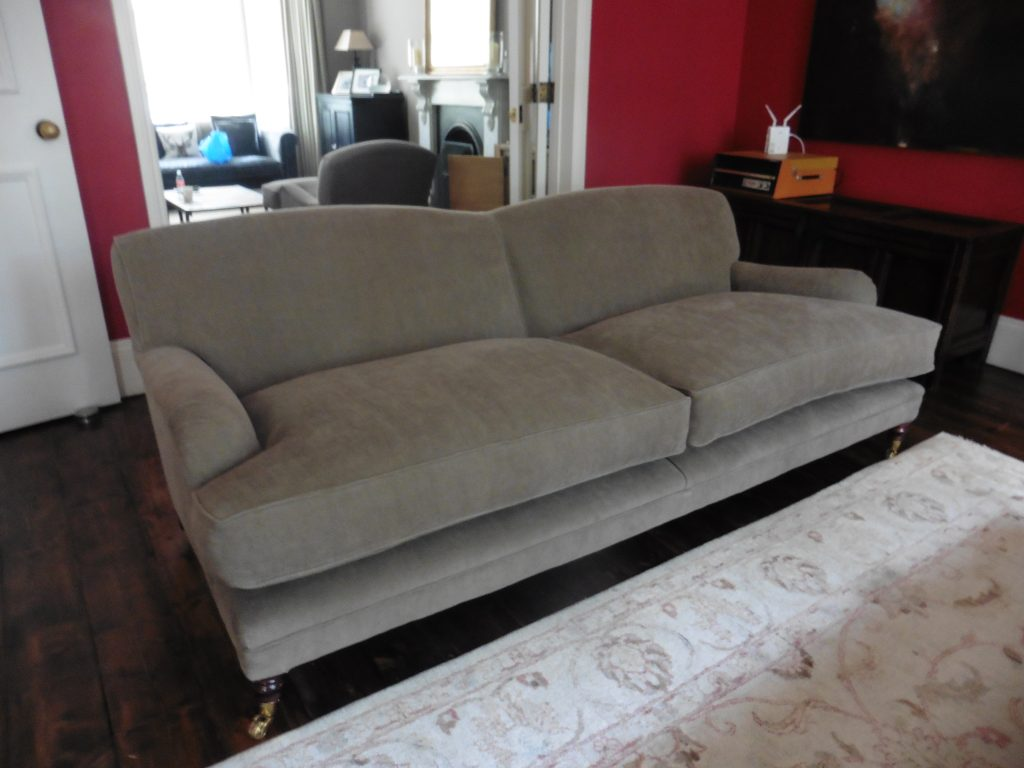 recovered upholstered sofa