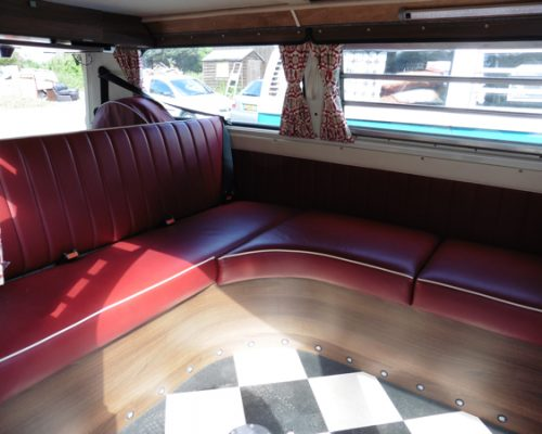VW reupholstery back seats red leather 2 hill upholstery
