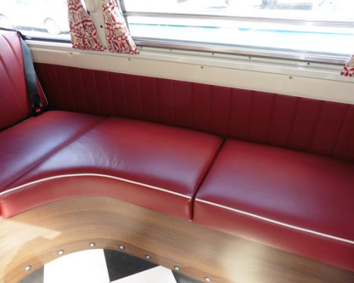 VW reupholstery back seats red leather 3 hill upholstery