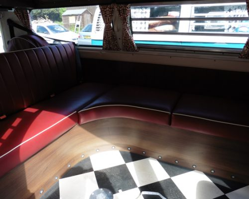 VW reupholstery back seats red leather 4 hill upholstery