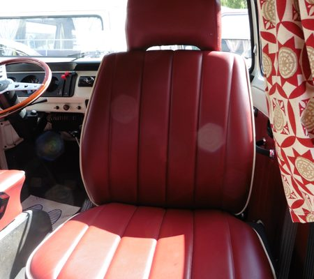 VW reupholstery seat red leather hill upholstery