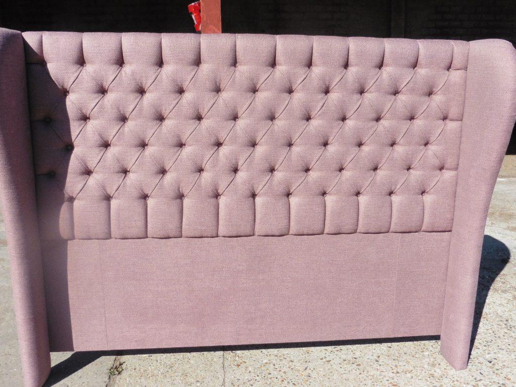 Deep buttoned upholstered headboard JAB upholstery fabric Shenfield Upholsterer Essex