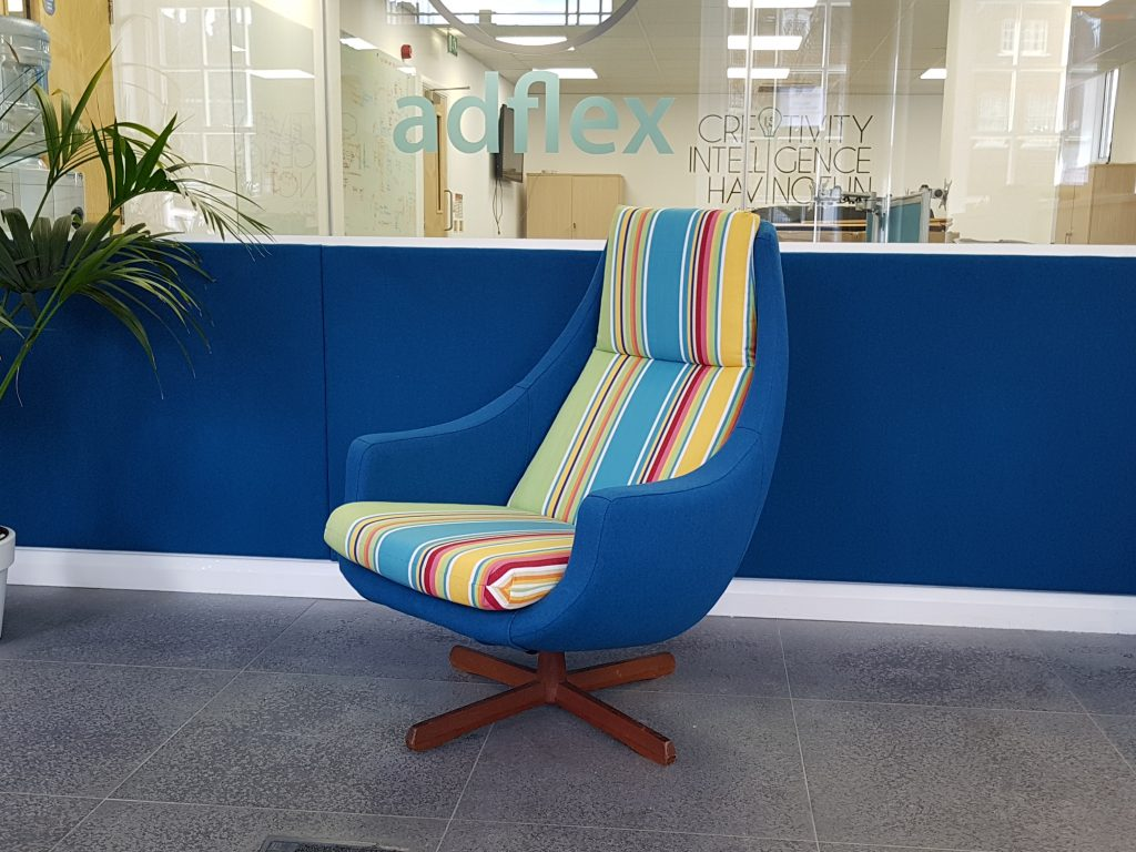 Fabric upholstered wall, Hill Upholstery and Design, Essex 1