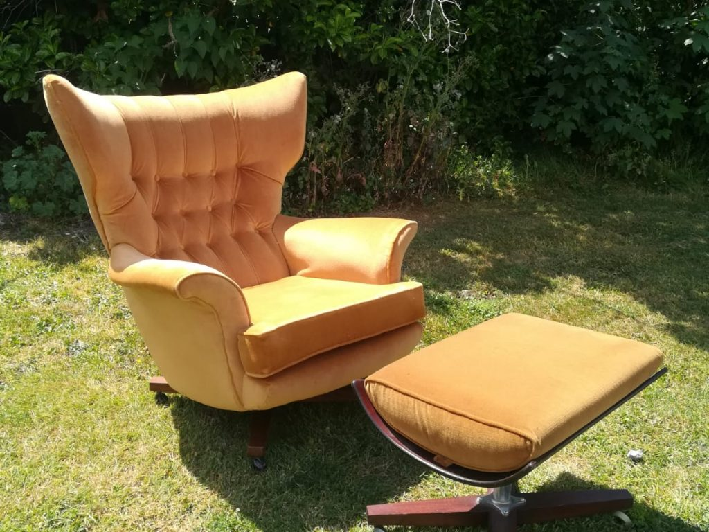 G-Plan Chair and footstool Hill Upholstery & Design Essex London